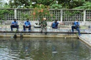 Komandan dan anggota panen ikan di Lanud Adisutjipto