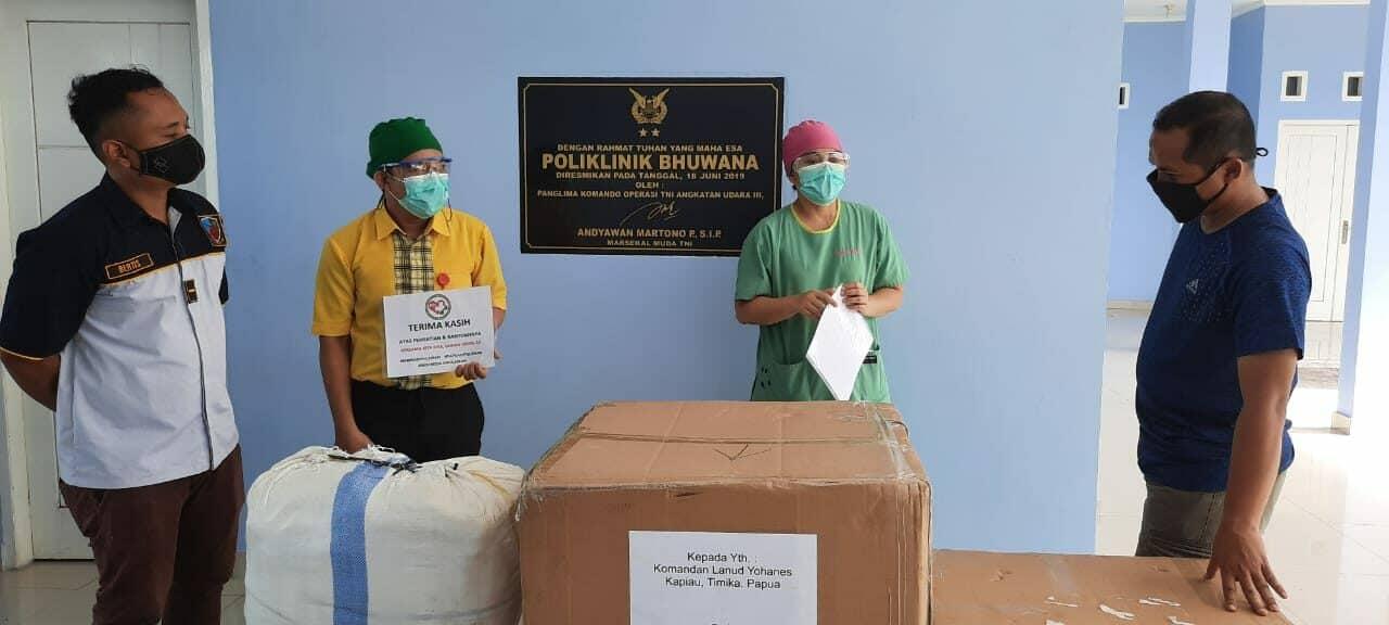 Lanud Yohanis Kapiyau Kembali Menyalurkan APD Ke Dinas Kesehatan Kabupaten Timika.