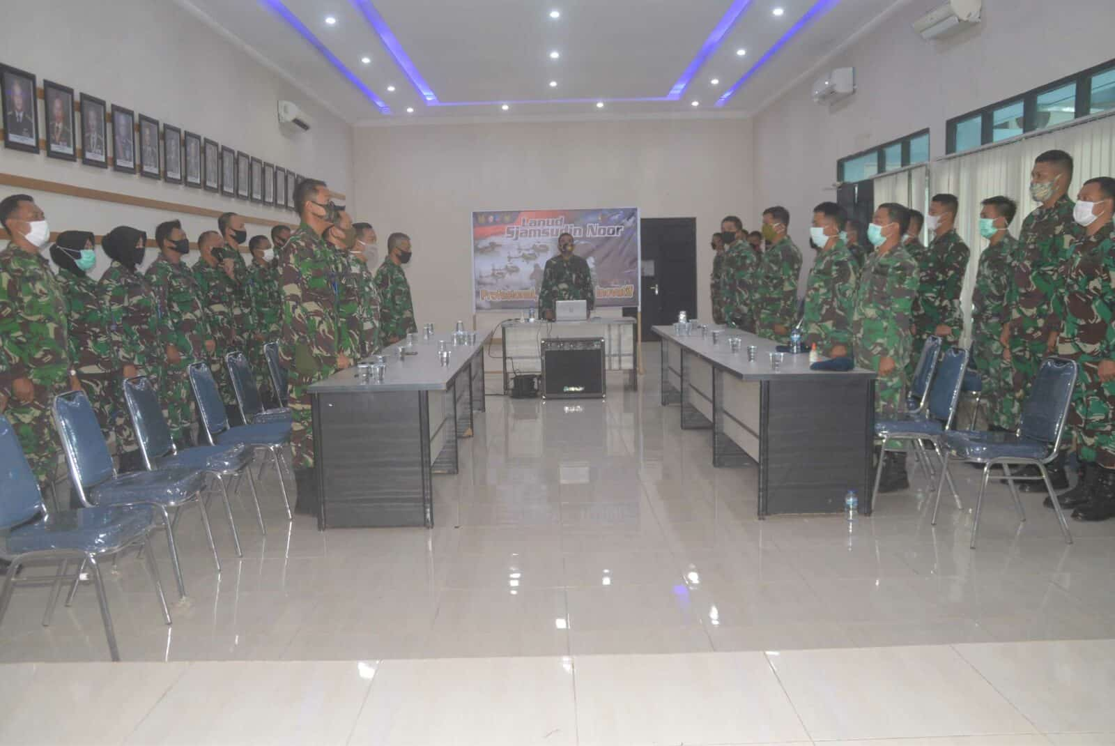 Dengan Live Streaming Seluruh Perwira Lanud Sjamsudin Noor Peringati Hari Lahir Pancasila