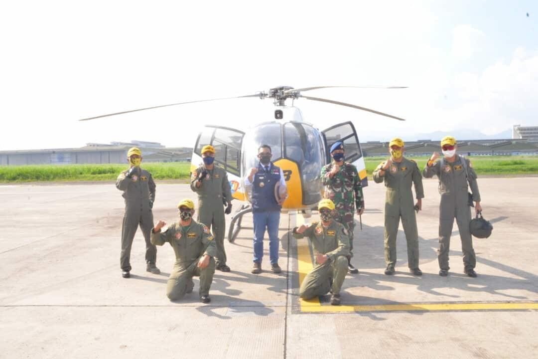 Dua Pesawa Helicopter EC 120 Colibri TNI AU Dukung Pemprov Jabar.