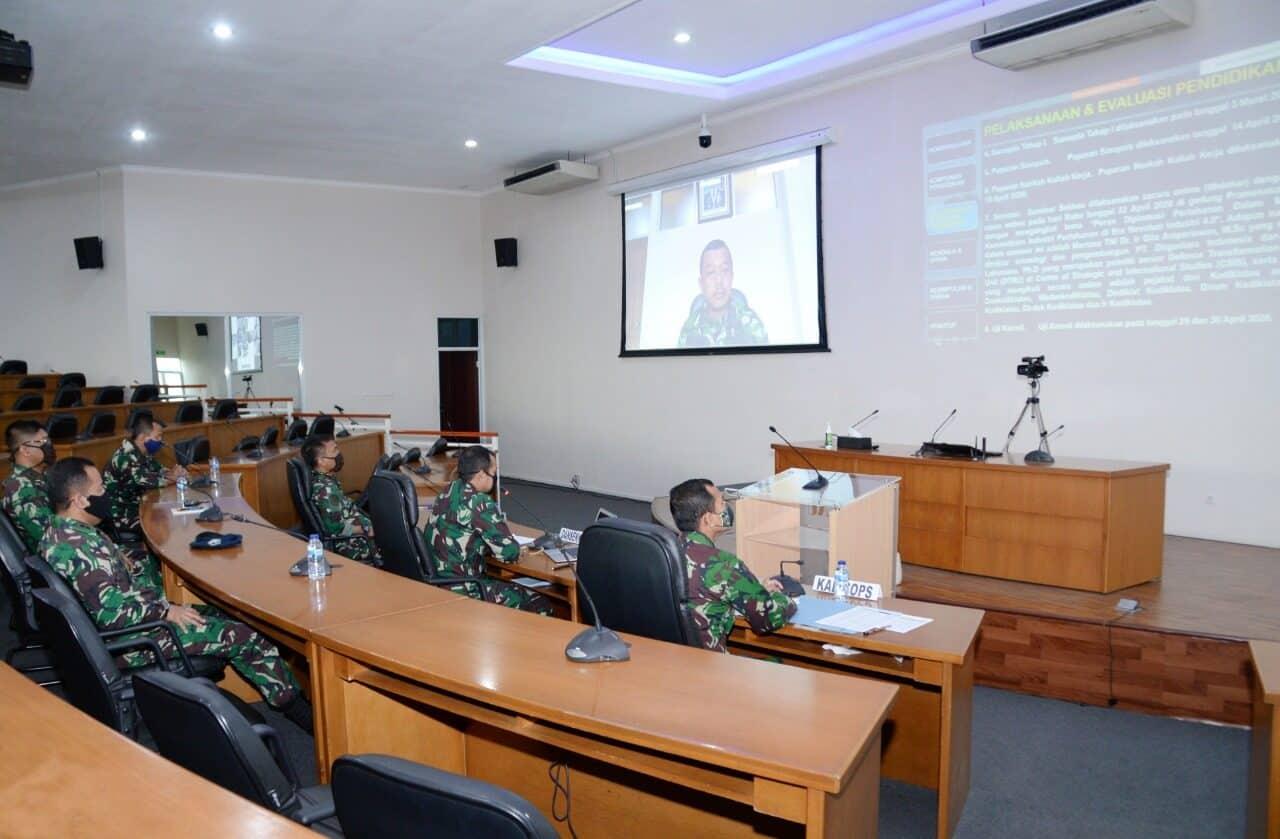 Komandan Sekkau Laporkan Evaluasi Pendidikan Sekkau A-107 Secara Daring