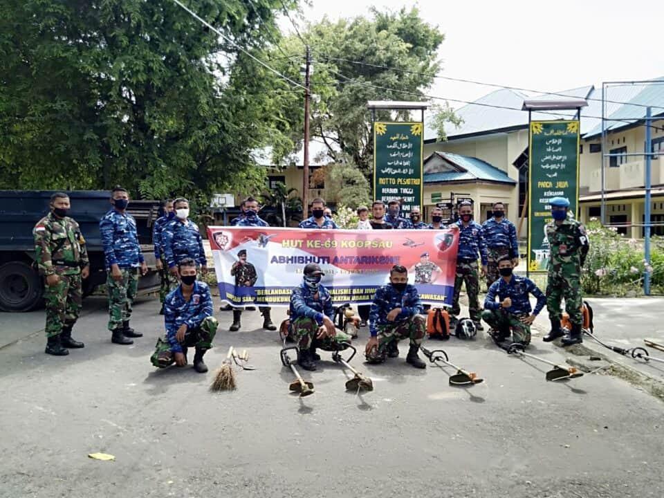 Pangkalan TNI AU Maimun Saleh Gelar Karya Bakti Menyambut HUT Koopsau I Ke-69.