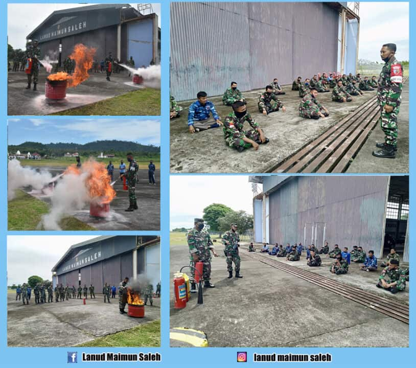 Tekhnik Penyemprotan Alat Pemadam Api Ringan (APAR) Harus Dikuasai Oleh Seluruh Prajurit Beserta PNS Lanud Maimun Saleh.