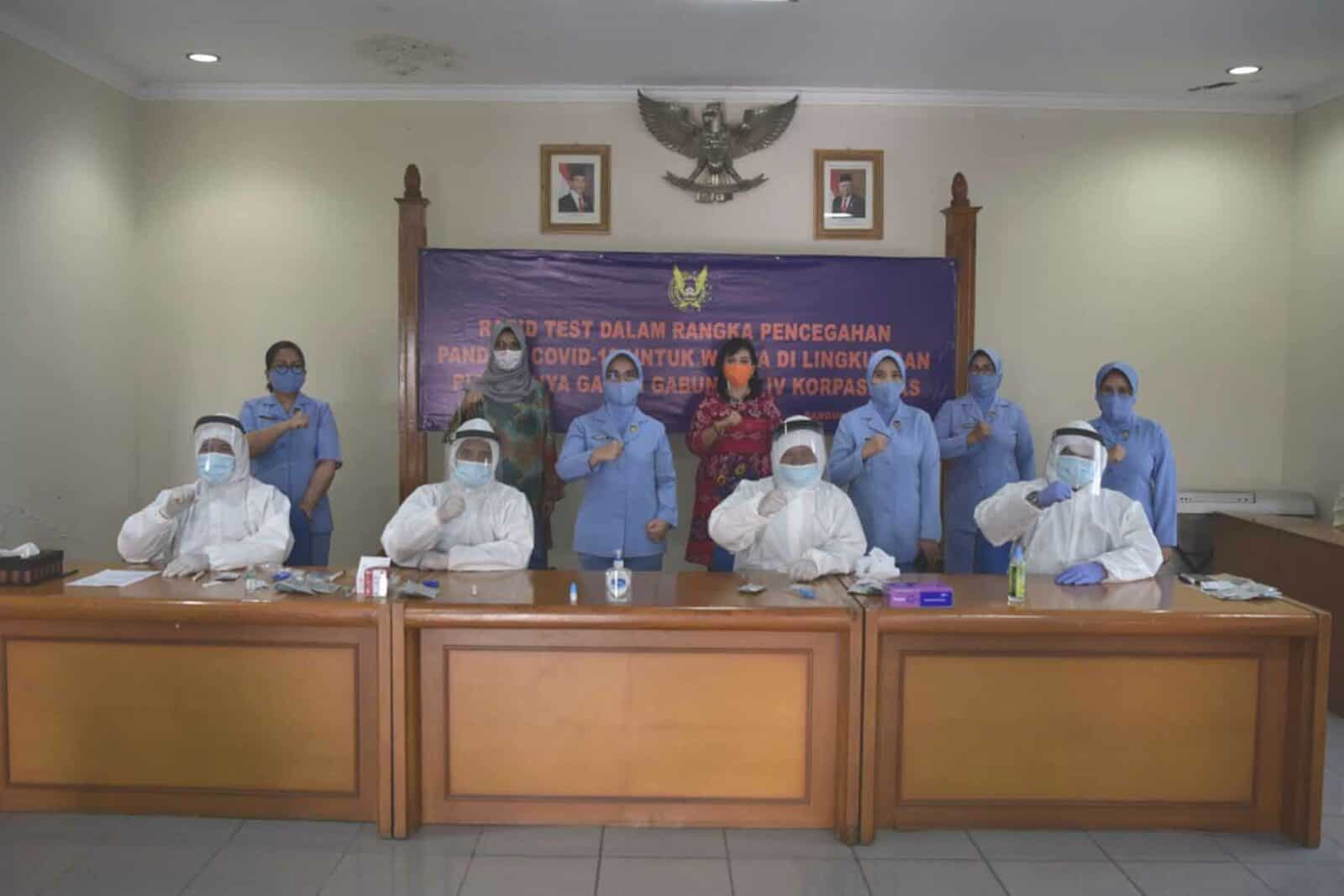 PIA Ardhya Garini Gabungan IV Korpaskhas Laksanakan Rapid test Cegah Covid-19