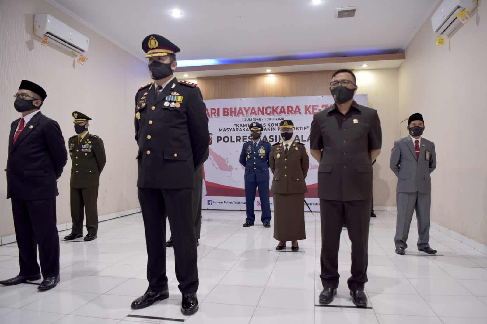 Danlanud Wiriadinata Hadiri Upacara Peringatan Ke – 74 Hari Bhayangkara Tingkat Polres Tasikmalaya Secara Virtual