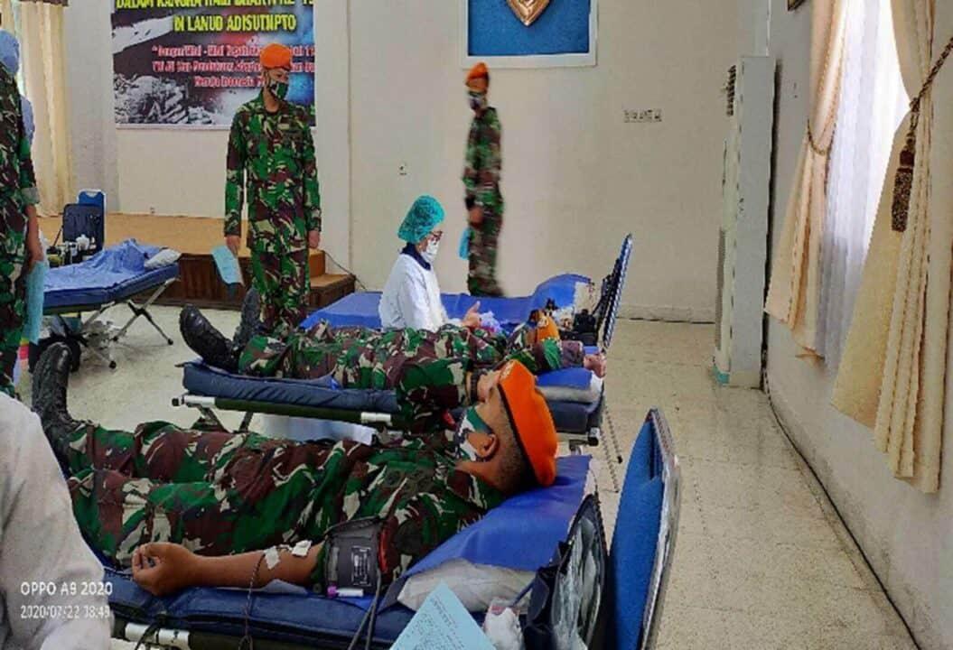 Denhanud 474 Paskhas Donor Darah Dalam Rangka Hari Bakti TNI AU Ke 73