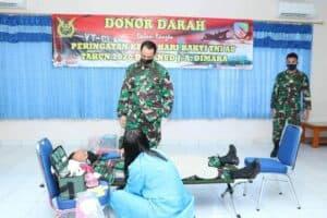Peringatan Ke-73 Hari Bakti TNI AU, Lanud J.A.Dimara Gelar Donor Darah di Tengah Pandemi Covid-19
