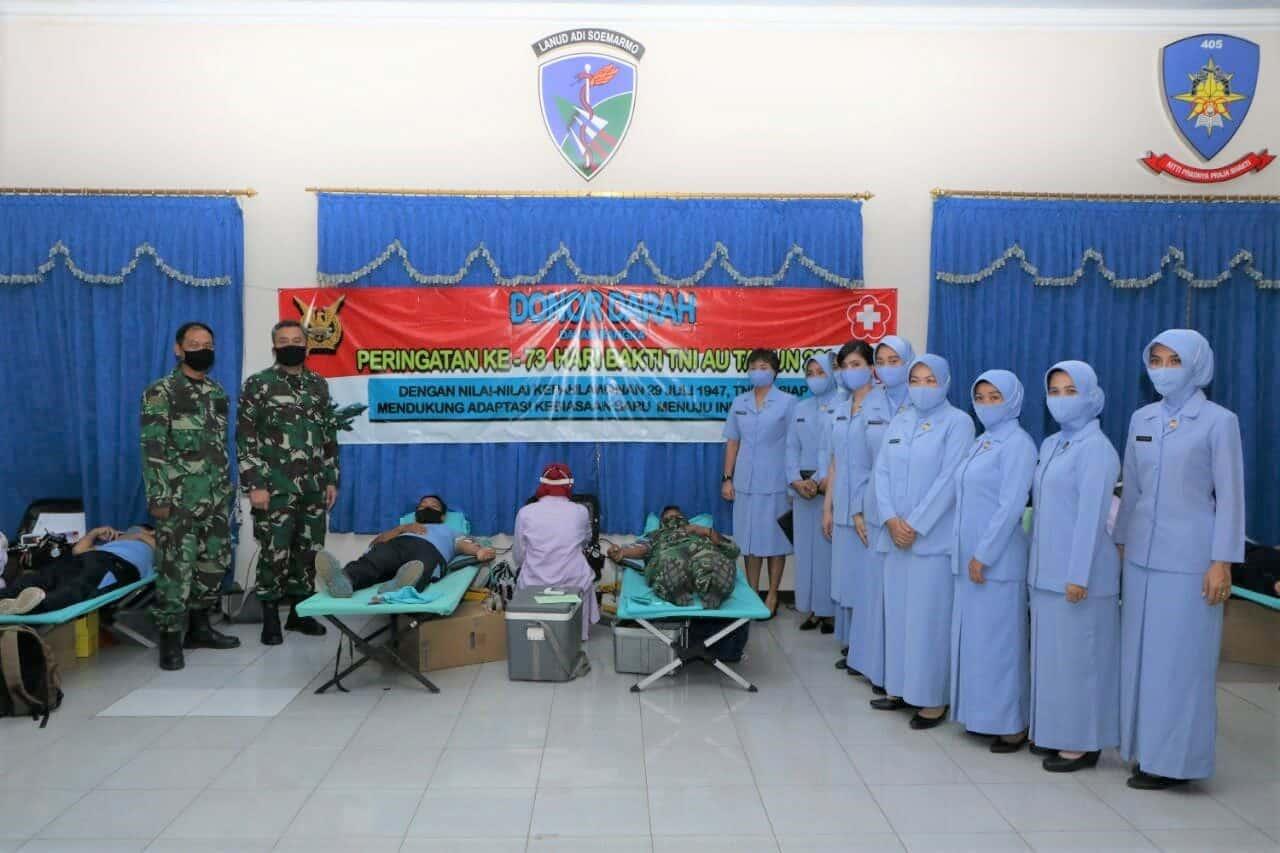 Hari Bakti TNI AU, Lanud Adi Soemarmo dan Depohar 50 Sumbang Darah ke PMI