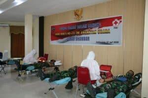 Lanud Dhomber Gelar Donor Darah Dalam Rangka Memperingati Ke- 73 Hari Bakti TNI AU Tahun 2020