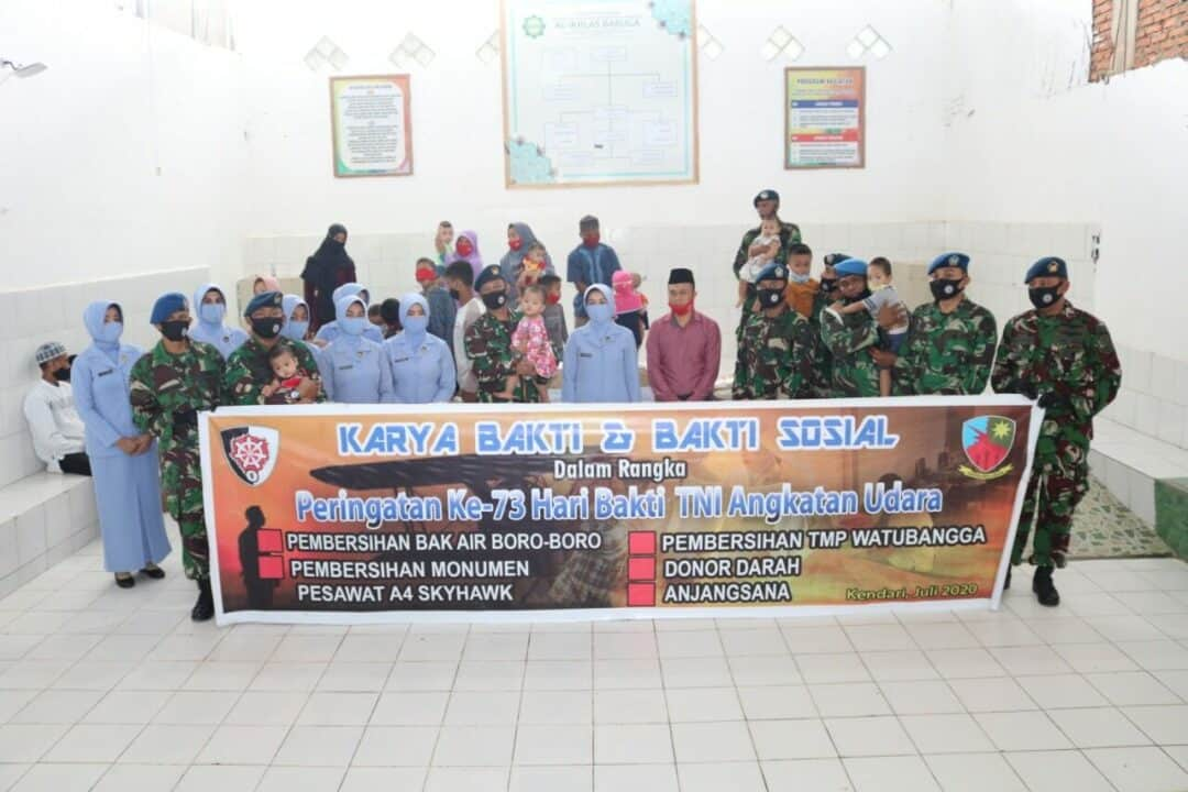 Sambut Hari Bakti TNI Angkatan Udara Ke-73 Lanud Haluoleo Anjangsana Ke Panti Asuhan