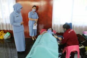 Donor Darah Prajurit TNI Angkatan Udara Dalam Rangka Hari Bakti ke-73 di Biak