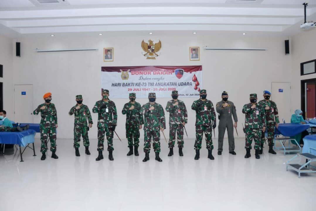 Sambut Hari Bakti ke-73 TNI AU, Lanud Iswahjudi Gelar Donor Darah.
