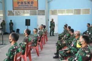 Komandan Lanud Soewondo mengikuti Vidcon dengan Pangkoopsau I bersama seluruh anggota