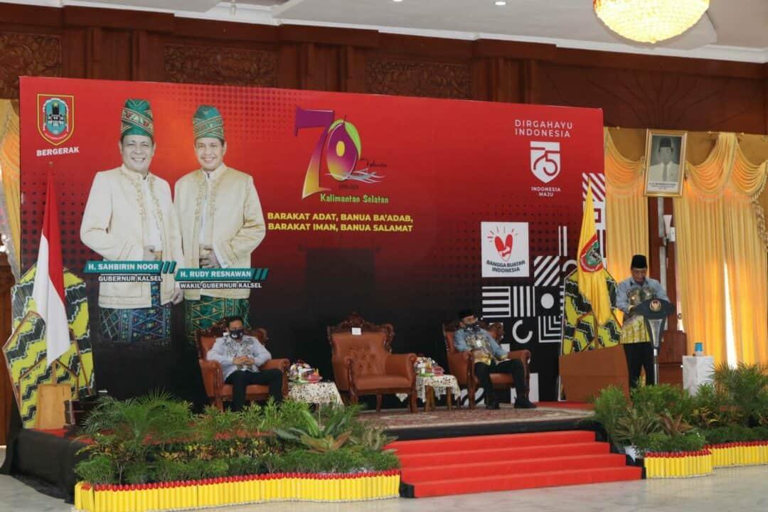 Komandan Lanud Sjamsudin Noor Hadiri Perayaan Peringatan Hari Jadi Provinsi Kalimantan Selatan Ke 70 Tahun 2020 di Maligai Pancasila