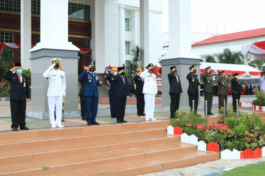 Personel Lanud Sjamsudin Noor Ikuti Upacara Peringatan HUT RI Ke-75 Tahun 2020 Di Provinsi Kalimantan Selatan