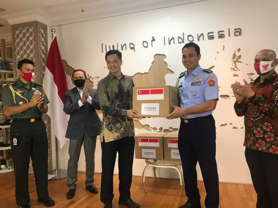 Serah Terima Virtual Bantuan dari Singapura kepada Indonesia