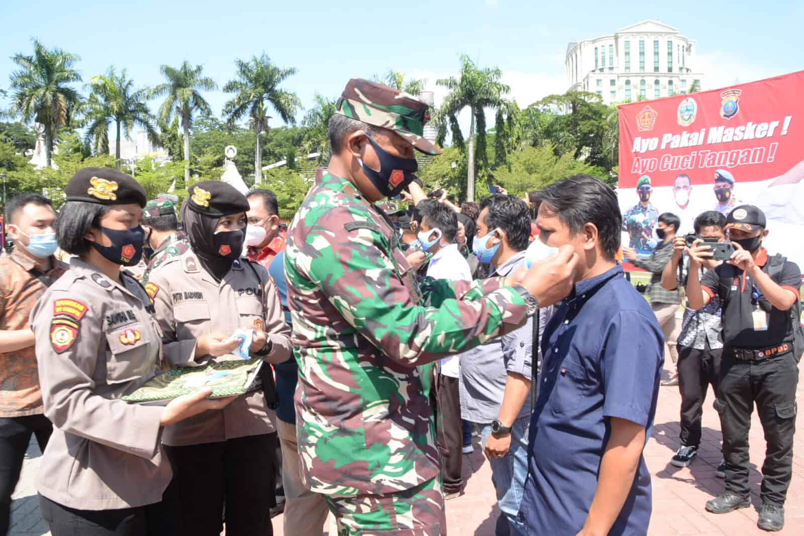 Pangkosekhanudnas III Ikuti Virtual Pembagian Masker Serentak dan Kampanye Jaga Jarak