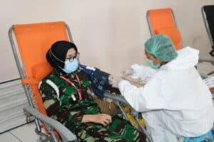 Sebanyak 200 Kantung Labu Terkumpul pada Bakti Sosial Donor Darah HUT Ke-75 TNI