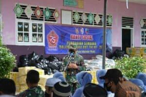 Peringati HUT ke-75 TNI Lanud Sim Bagikan Paket Sembako kepada Masyarakat Saree Aceh