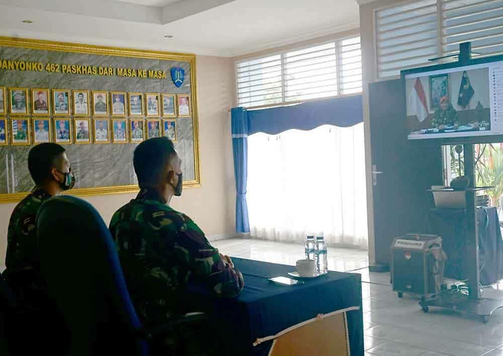 Yonko 462 Paskhas Saksikan Live Streaming Webinar Kesaktian Pasukan Elite 3 Matra dan 4 Pilar MPR-RI