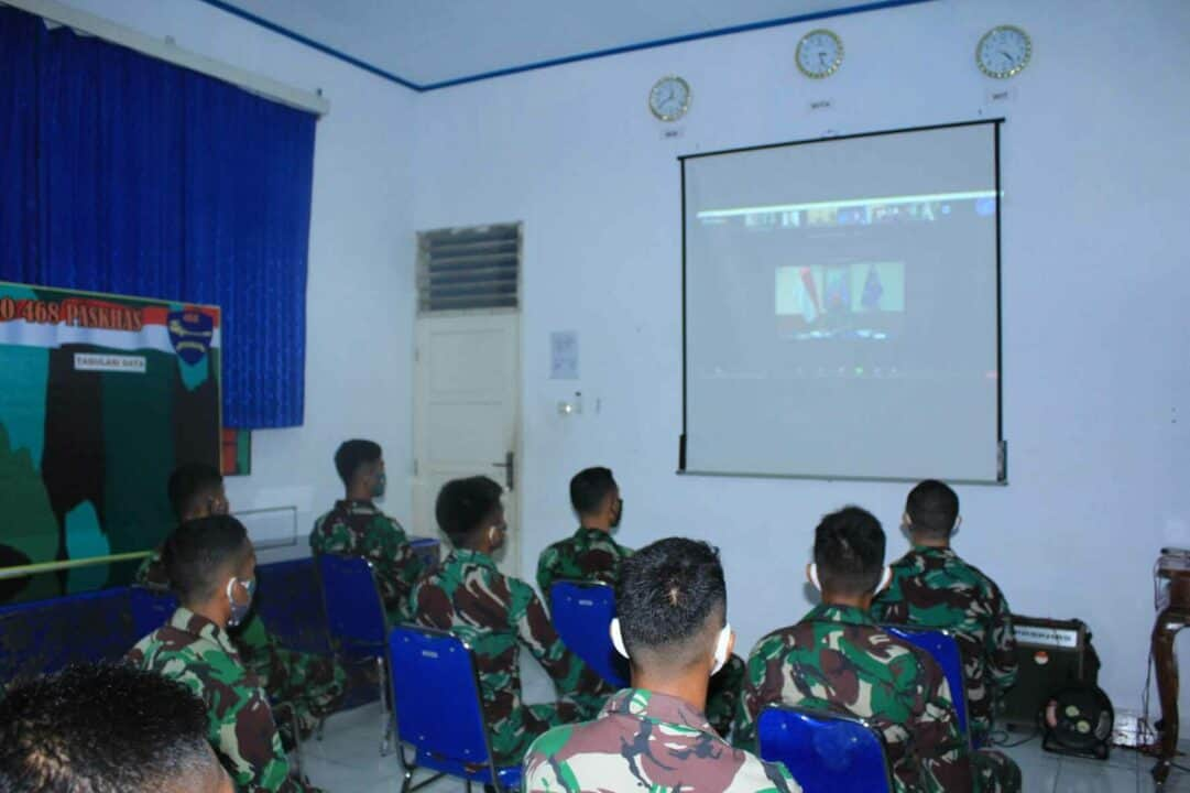 Yonko 468 Paskhas Melaksanakan Webinar Kesaktian Pasukan Elite 3 Matra & 4 Pilar MPR – RI