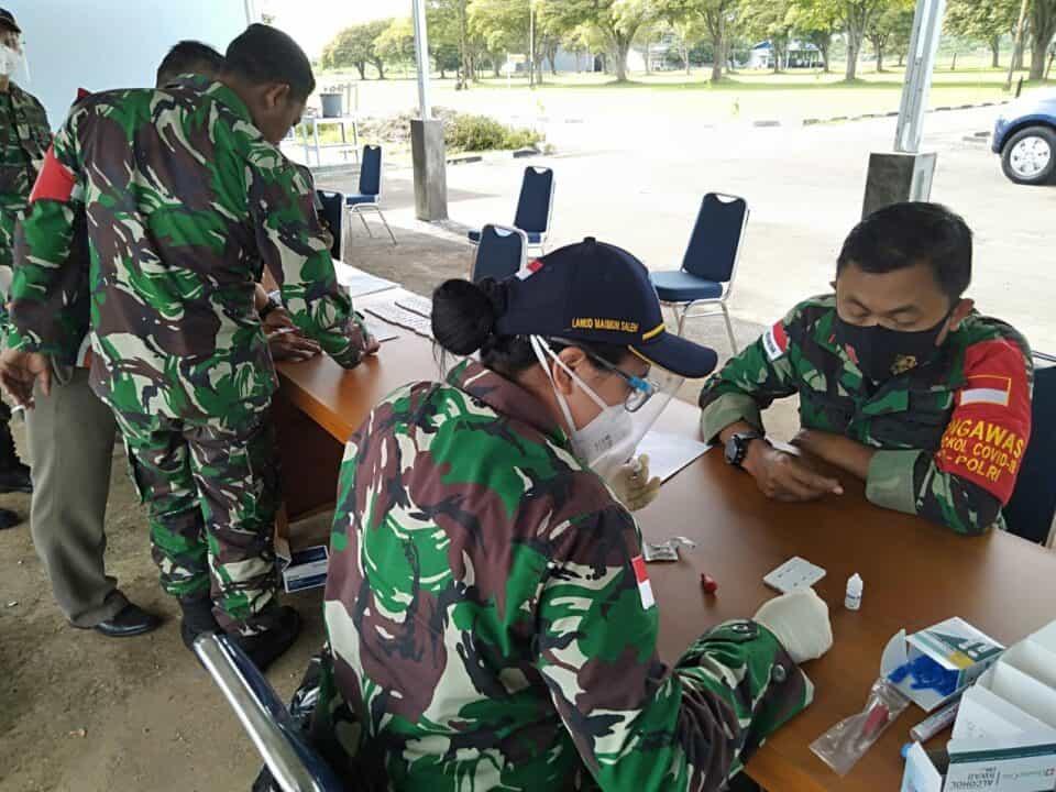 Cegah Penyebaran Covid-19 Seluruh Personel Lanud Mus Laksanakan Rapid Test.