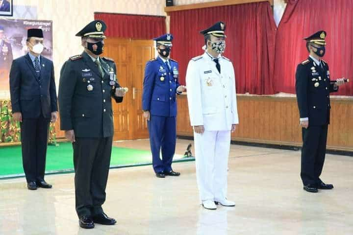 Komandan Lanud J.B. Soedirman menghadiri Upacara Virtual Dalam Rangka HUT TNI ke – 75 di Makorem 071/Wijayakusuma