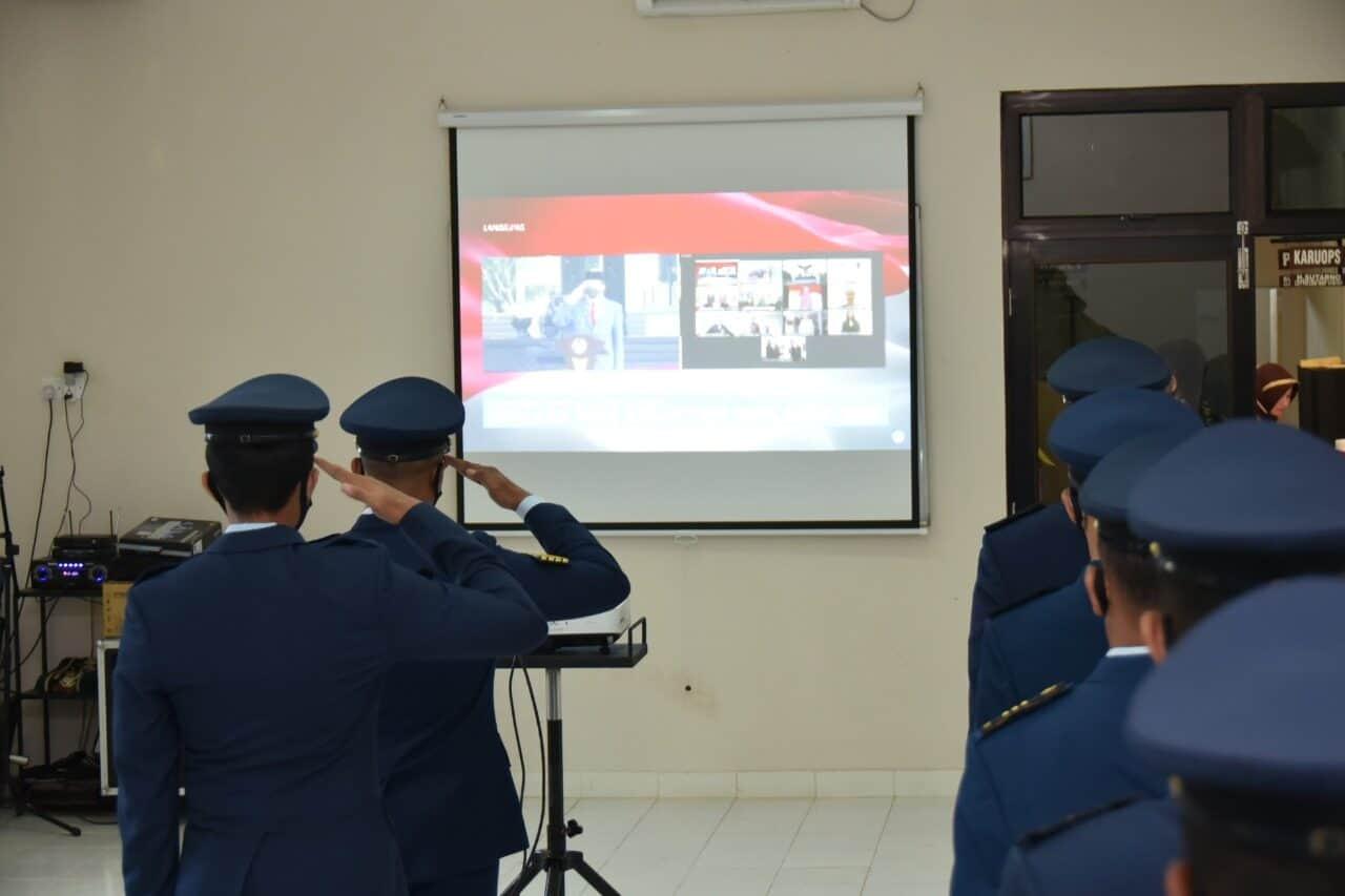 Prajurit Lanud RHF Ikuti Upacara Kesaktian Pancasila Tahun 2020 Secara Virtual