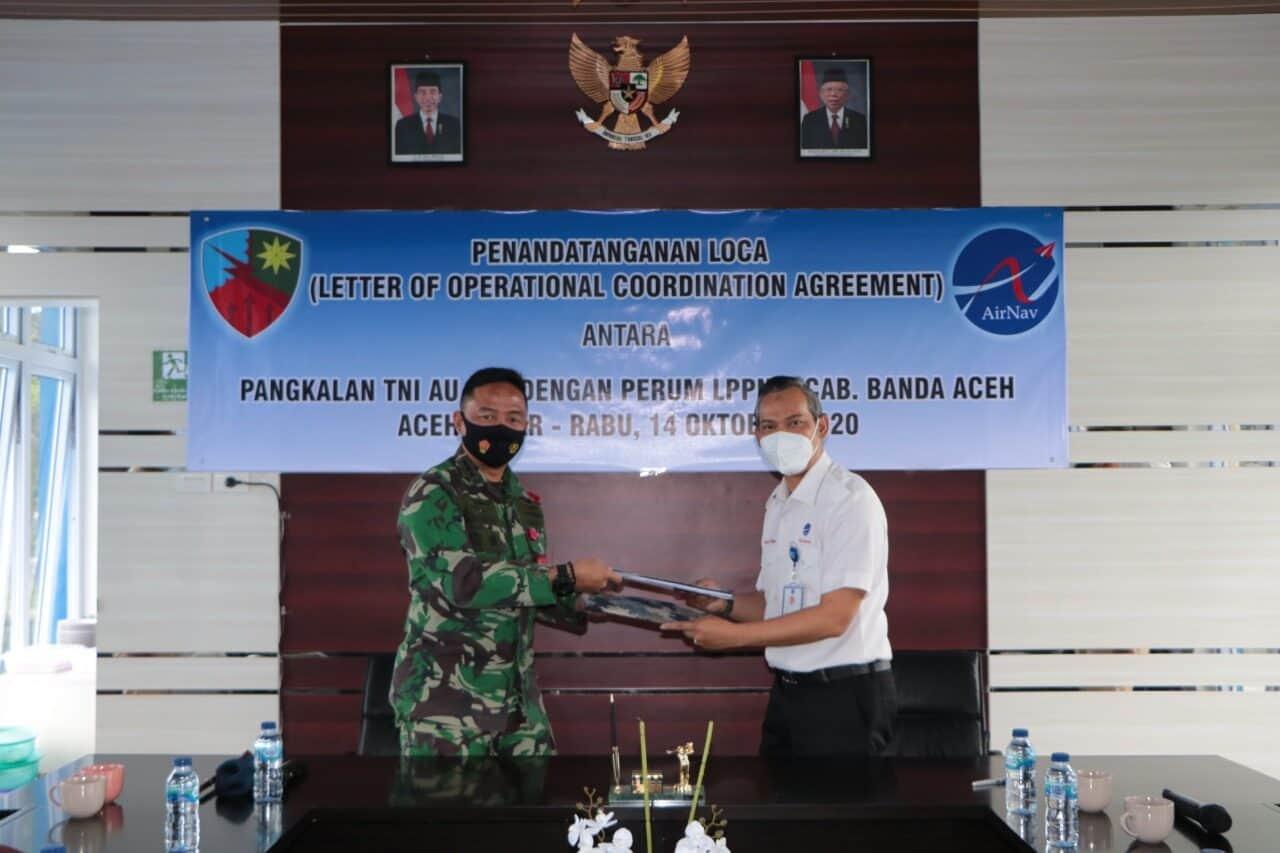 Danlanud SIM dan GM Perum LPPNPI Cabang Banda Aceh, Tandatangani Letter Of Operational Coordination Agreement (LOCA)