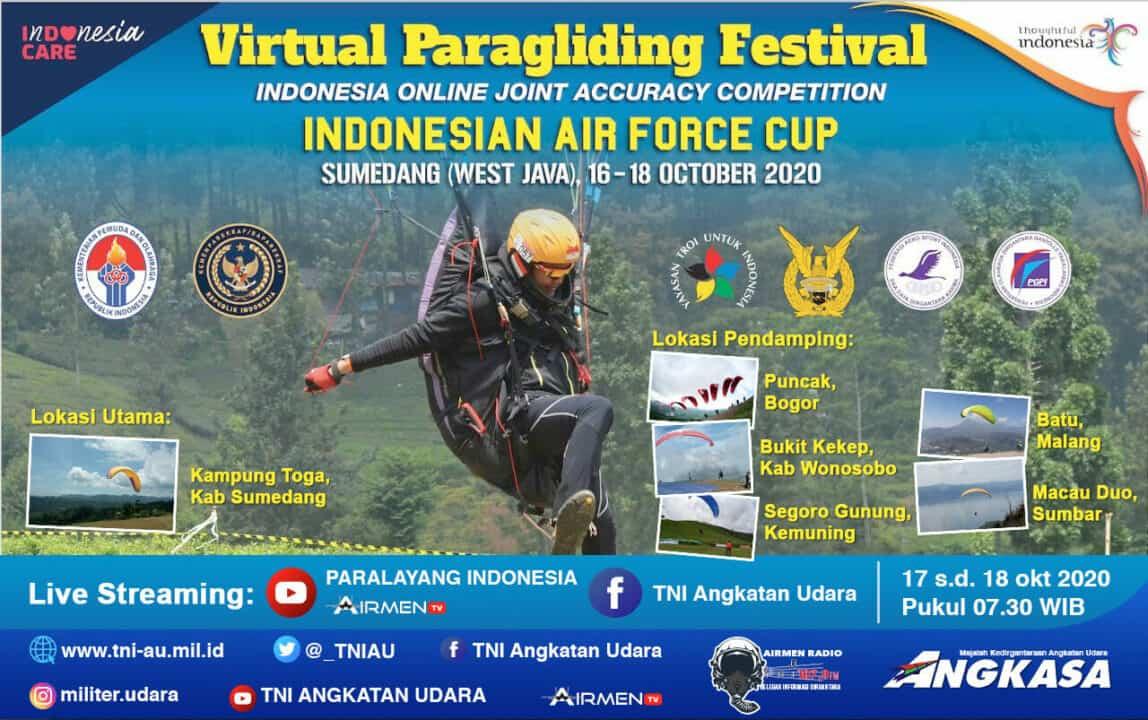 91 Orang Atlit Paragliding Berlaga Dalam Virtual Paragliding Festival Indonesian Air Force Cup 2020