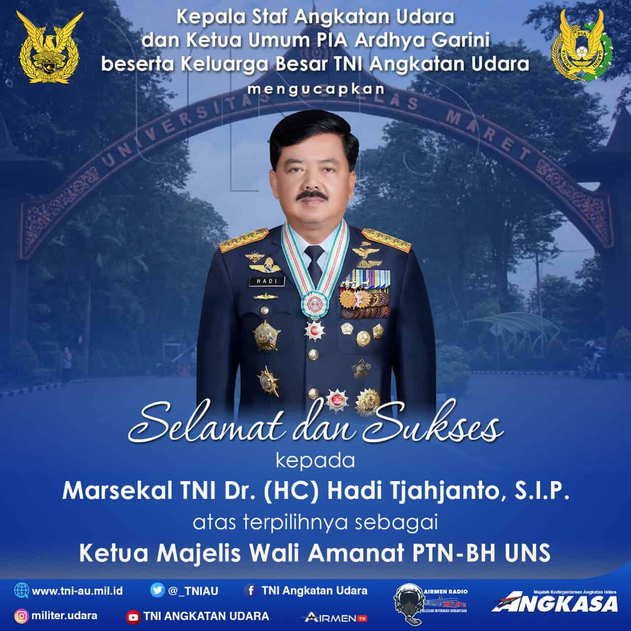 SELAMAT UNTUK MARSEKAL TNI DR. (H.C.) HADI TJAHJANTO, S.I.P.