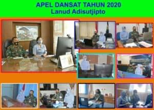 Danlanud Adisutjipto dan Ketua PIA Ardhya Garini Cabang 2/Gab II, beserta staf jajaran mengikuti kegiatan Apel Dansat Tahun 2020