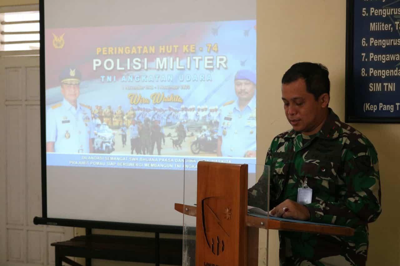 Danlanud Pimpin Acara Syukuran HUT Ke-74 Pomau di Kantor Satpom Lanud Sugiri Sukani