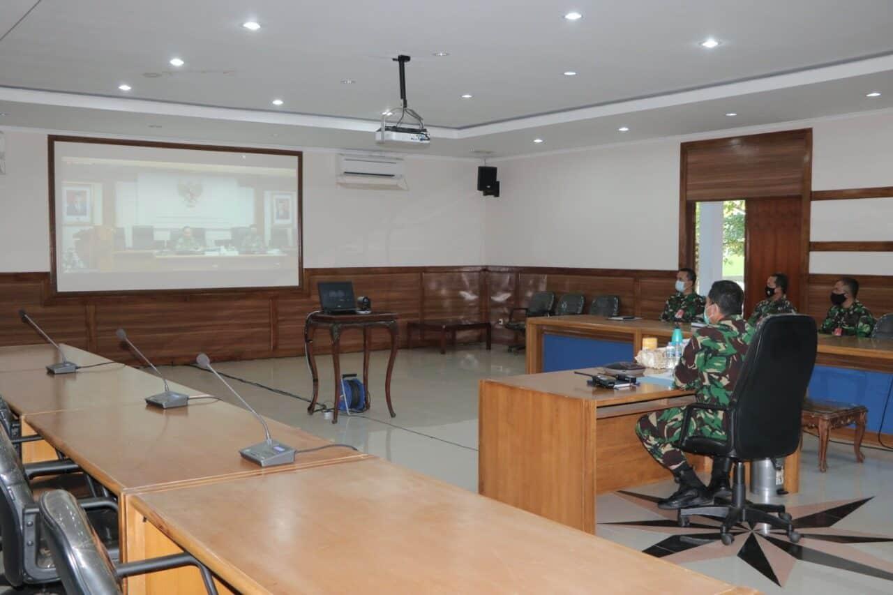 Danlanud Iswahjudi Ikuti Rapat Evaluasi Progja Dan Anggaran TNI AU Secara Virtual