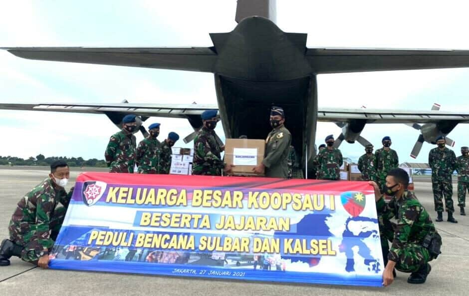 Keluarga Besar Koopsau I dan Jajaran berhasil Salurkan Bantuan untuk korban Bencana Sulbar dan Kalsel