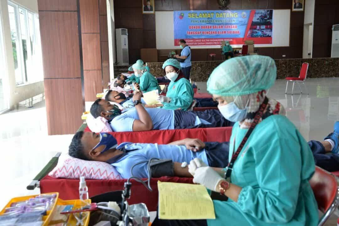 Personel Lanud HND Gelar Donor Darah Untuk Masyarakat Sulbar Yang Terdampak Bencana