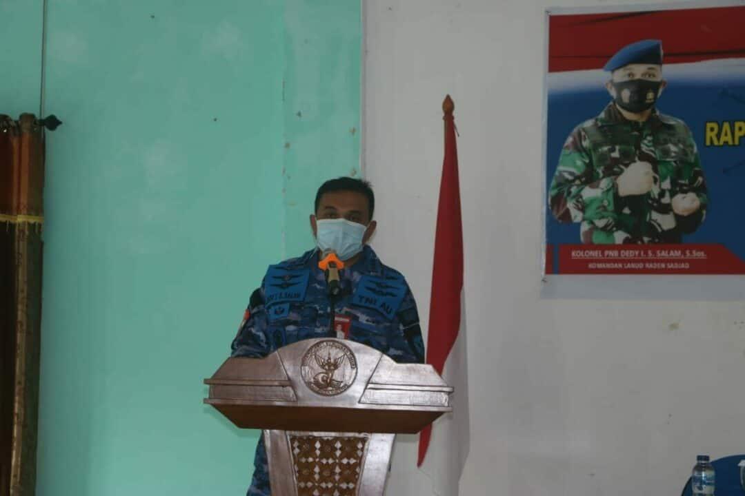 Lanud RSA Serbuan Teretorial Laksanakan Rapid Test Massal Guru dan Siswa di Natuna