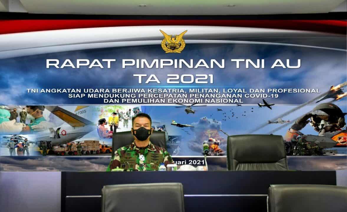 Wadan Koharmatau Menghadiri Rapat Pimpinan TNI AU Tahun Anggaran 2021 Secara Virtual
