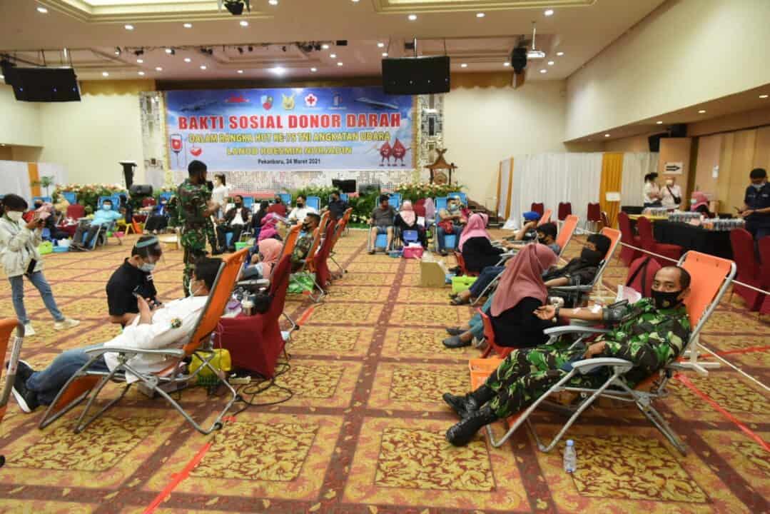 Bersempena HUT Ke-75 TNI AU, Lanud Rsn Donorkan Darah dan Plasma Konvalesen