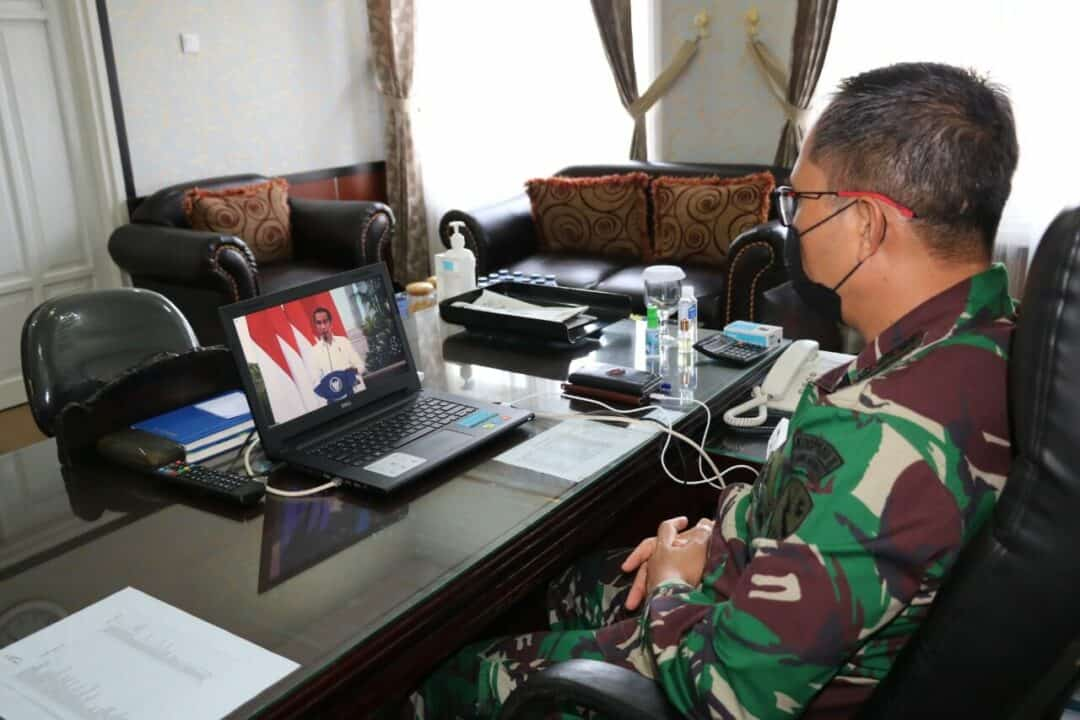 Danlanud Dhomber Hadiri Rakornas Penanggulangan Bencana Tahun 2021 Secara Virtual