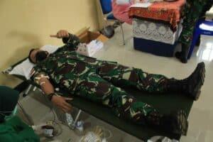 Lanud Leo Wattimena Mengadakan Donor Darah Dalam Rangka HUT Ke 75 TNI AU