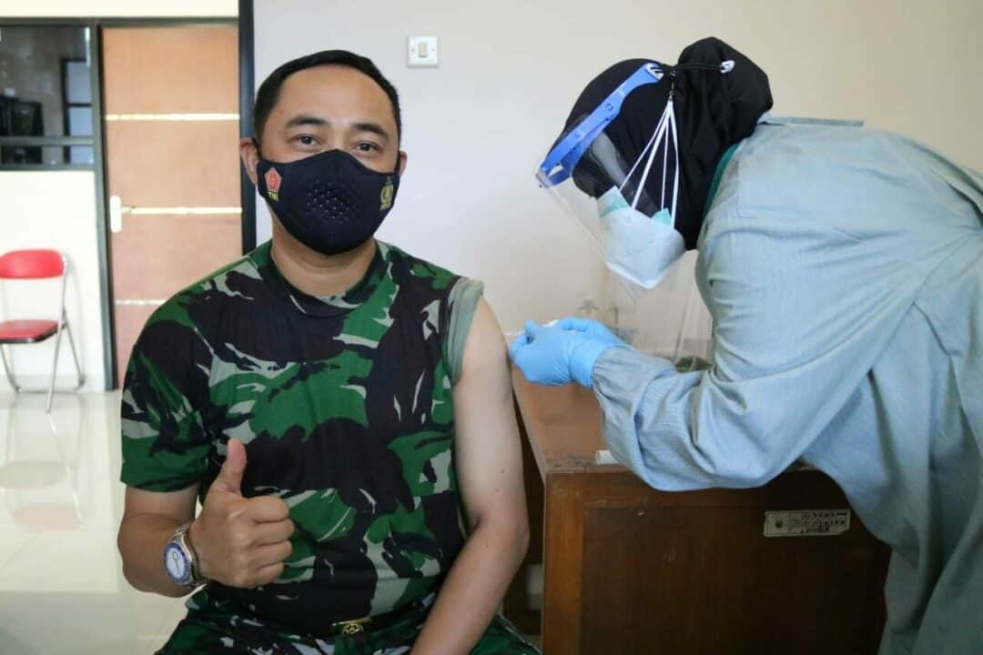 Pangkosekhanudnas II Menerima Vaksinasi Covid-19 Yang Pertama Pada Tahap Kedua