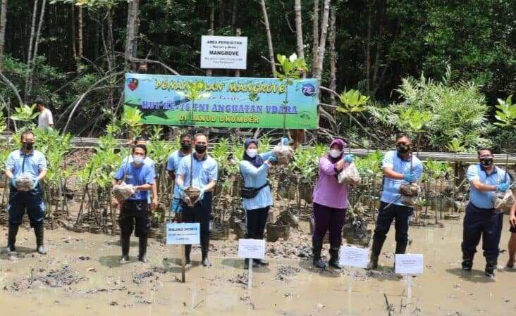 Peringati HUT Ke – 75 TNI AU Lanud Dhomber Tanam Pohon Mangrove