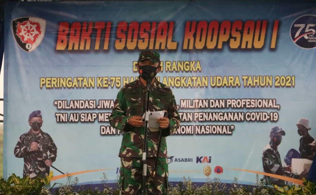 """Baksos Koopsau I TA. 2021 Pangkoopsau I : """"Masyarakat Cinta TNI AU Dan TNI AU Berbakti Untuk Negeri"""""""
