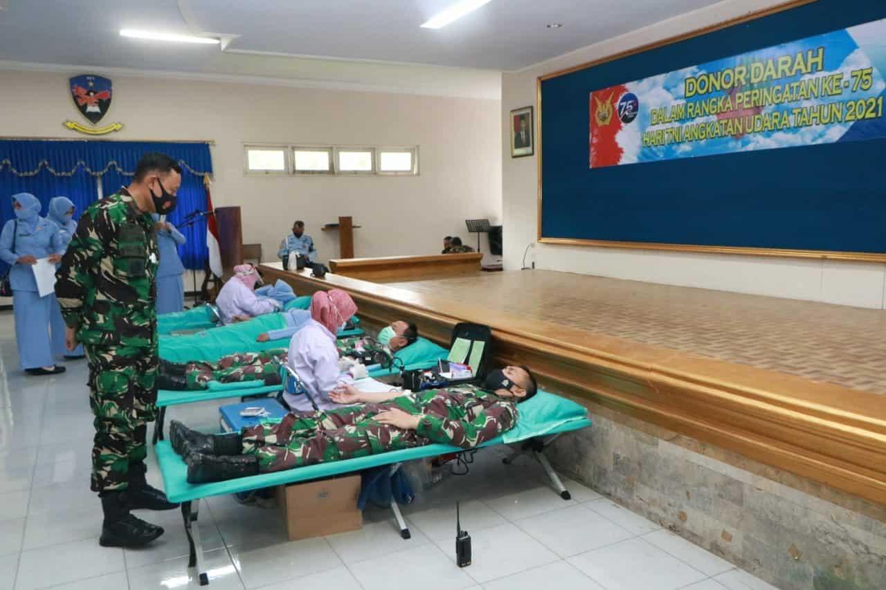 Sambut HUT TNI AU Ke-75, Lanud Adi Soemarmo Gelar Donor Darah