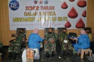Pusdiklat Hanudnas Laksanakan Baksos Donor Darah Dalam Rangka Peringatan HUT Ke-75 TNI Angkatan Udara