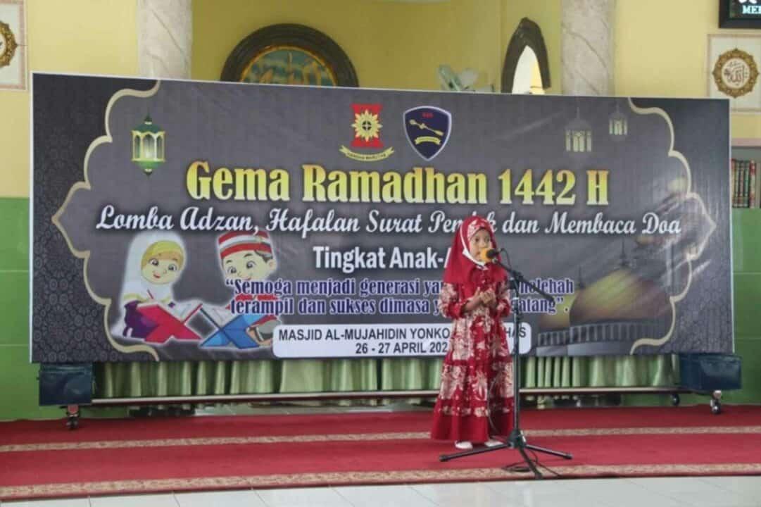 Meriahkan Bulan Suci Ramadhan 1442 H, Yonko 469 Paskhas Gelar Lomba Adzan, Hafalan Surat Pendek Dan Baca Doa Tingkat Anak-Anak