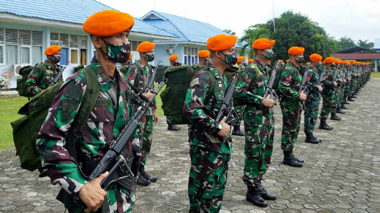 Yonko 462 Paskhas Laksanakan Apel Penyambutan Purna Tugas Satpamwal Denma Mabes TNI