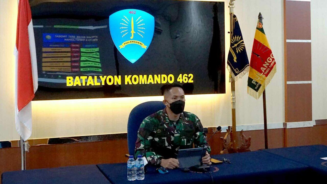 Danyonko 462 Menghadiri Video Conference Rapat Paparan Latihan Hardha Marutha III TA 2021