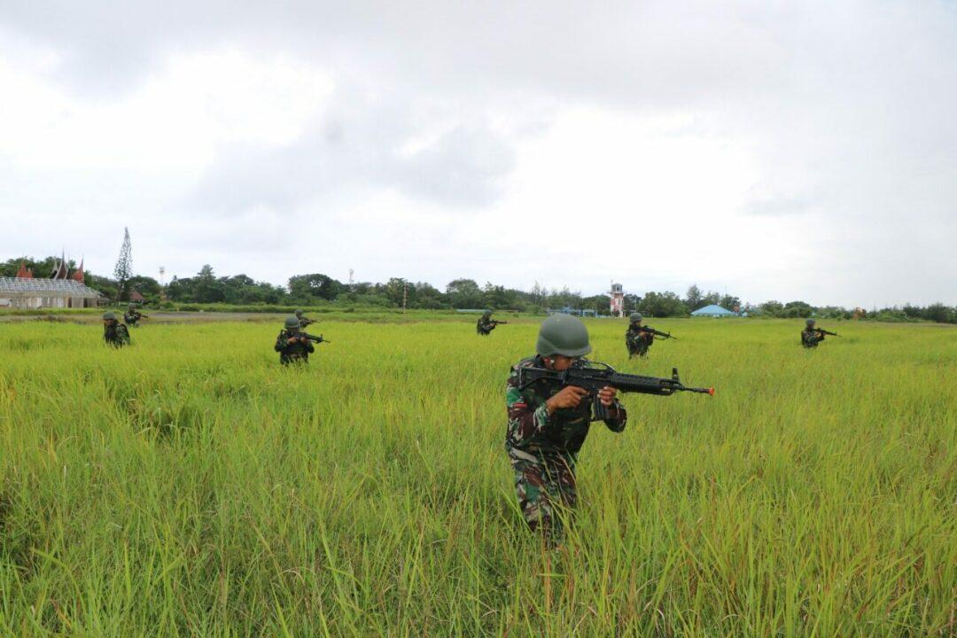 Prajurit Lanud Sutan Sjahrir Latihan Pertahanan pangkalan
